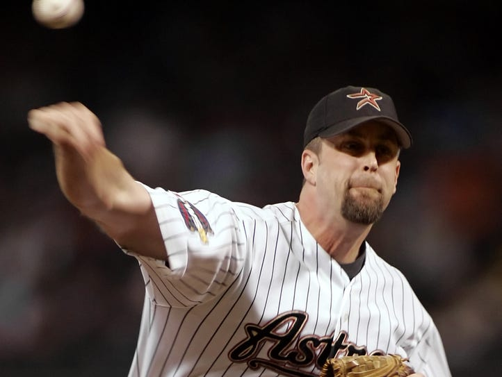 Russ Springer pitches in relief with the Houston Astros
