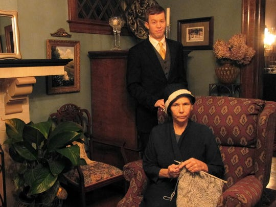 """Starring in the Elmira Little Theatre production of """"And Then There Were None"""" are Robert Lavarnway as Anthony Marston and Gail Lewis as Emily Brent."""