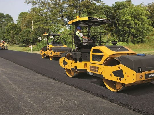 Volvo manufactures road construction equipment, such as this asphalt compactor.