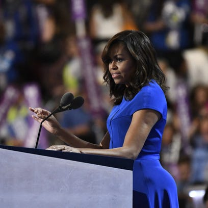 First lady Michelle Obama takes the stage during the