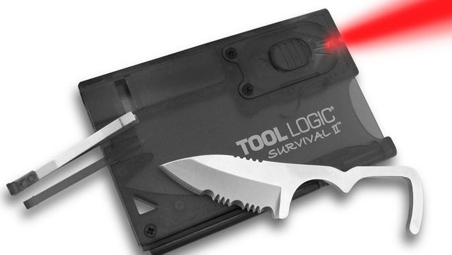 Tool Logic Survival Card SVC2: The Survival Card is a nice little backup survival kit to keep in your wallet for emergencies. The dimensions of its face match a credit card perfectly, although the depth is that of a few cards stacked. Nestled into its flat package is a red LED flashlight, small survival knife, tweezers, toothpick, a signal whistle (which users say is quite loud) and a magnesium alloy fire-starter strip. ToolLogic also makes a model with a compass and magnifying glass in place of the light, but many reviewers complain the compass is faulty.