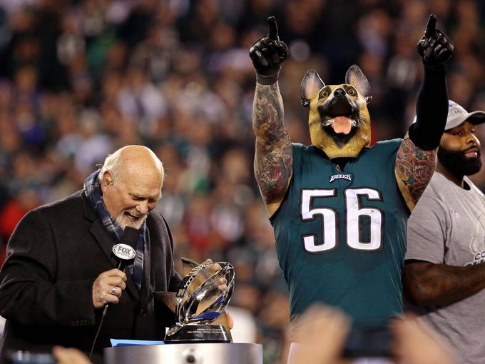 Philadelphia Eagles defensive end Chris Long celebrates