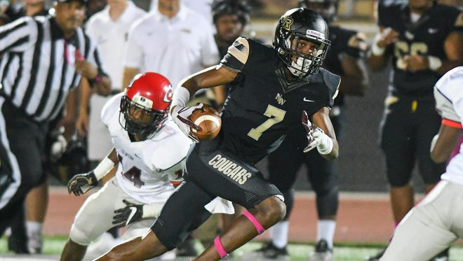 Northwest Rankin receiver Jarrian Jones (7) gets loose in the secondary against Clinton during game action on Friday in Flowood.