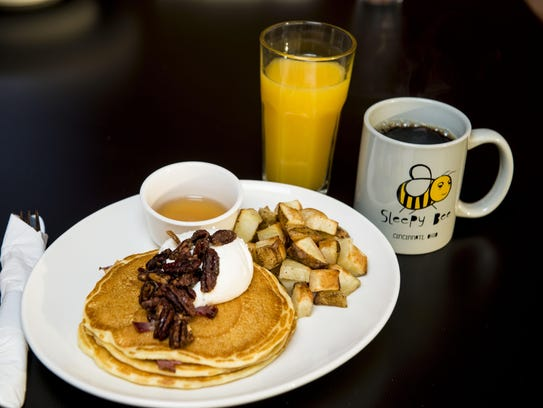 Piggy Cakes: buttermilk pancakes with bacon and maple