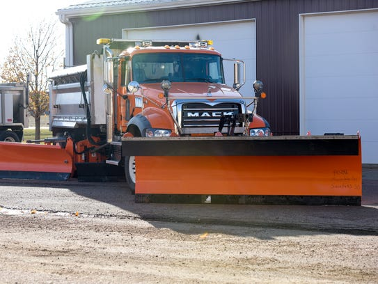 A snow plow sits at the ready at the Minnehaha County