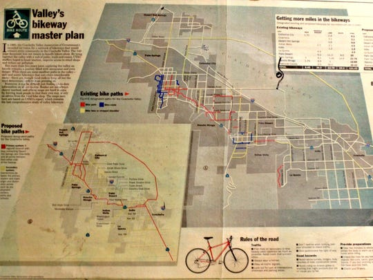 A map of a valley-wide bicycle loop that was proposed by CVAG and published by The Desert Sun in 1997 hangs today on the wall of Joel's Bicycle Shop in Thousand Palms.