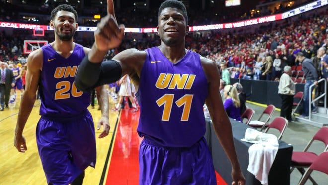 Northern Iowa senior Wes Washpan celebrates after the Panthers knocked off No. 5-ranked Iowa State on Saturday, December 19, 2015, at Wells Fargo Arena in Des Moines.