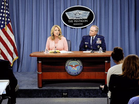 Secretary of the Air Force Deborah Lee James provides an update with Air Force Chief of Staff Gen. Mark A. Welsh III on current Air Force operations during a press briefing in the Pentagon, Aug. 24.
