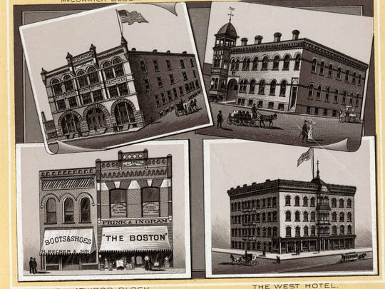 An 1892 promotional pamphlet shows views of the major architectural landmarks in St. Cloud, including the Coates & Freeman Livery Barn (upper right).