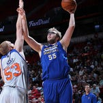 Matt Stainbrook of the Golden State Warriors shoots the ball against the New York Knicks on July 16 at the Thomas & Mack Center in Las Vegas.