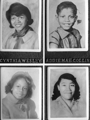 Cynthia Wesley, Addie Mae Collins, Denise McNair and Carol Robertson, who were killed in the bombing of the Sixteenth Street Baptist Church in Birmingham, Ala., on Sept. 15, 1963, are portrayed in portraits displayed at the church.