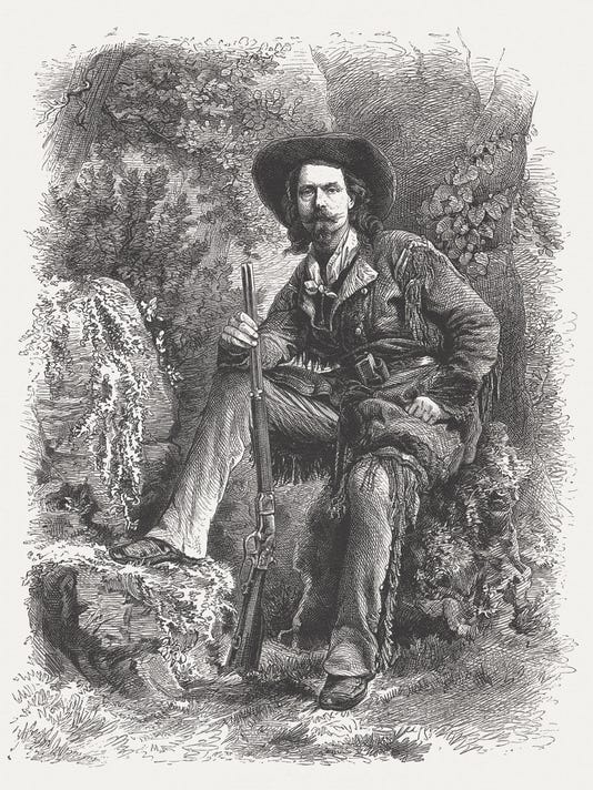 Buffalo Bill (1846-1917) American showman, wood engraving, published in 1877