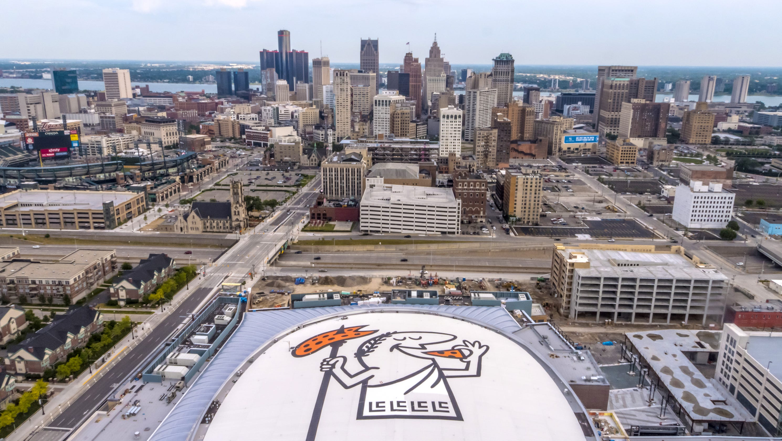 Detroit Red Wings Arena >> Little Caesars guy on new Detroit arena roof? Wings fans seeing red