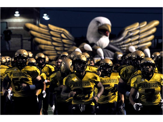 The Abilene High School Eagles take the field at the