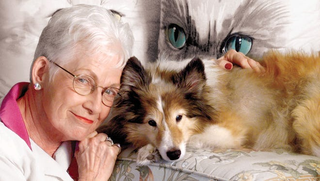 """Marge Wright in a file photograph, with Sheltie Max. Wright was involved with the Arizona Humane Society for more than 30 years, and was a local celebrity as host of """"Pets on Parade."""""""