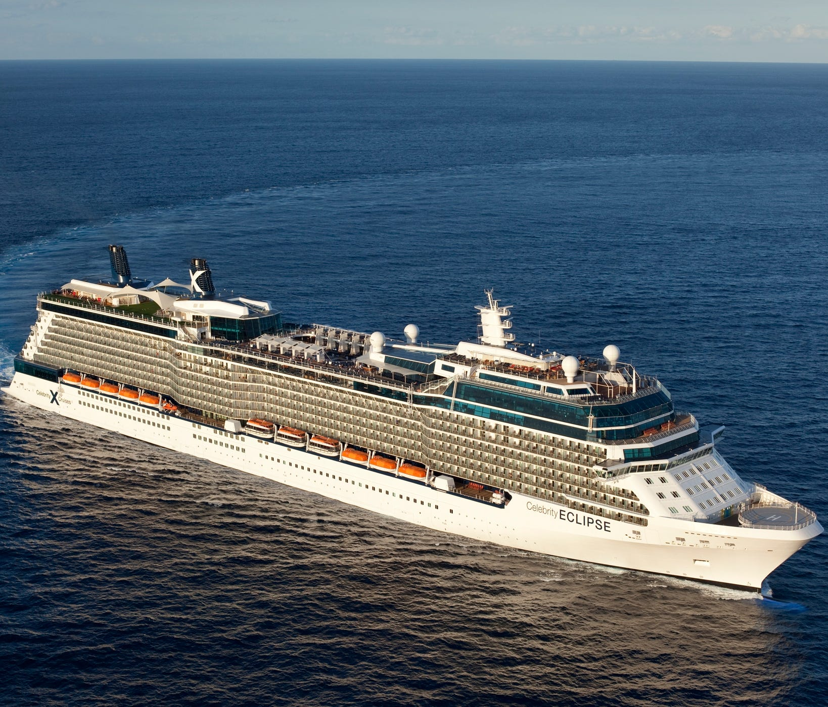 32. Celebrity Eclipse, built by Celebrity Cruises in 2010, weighs 121,878 GT and carries 2,853 passengers at double occupancy.