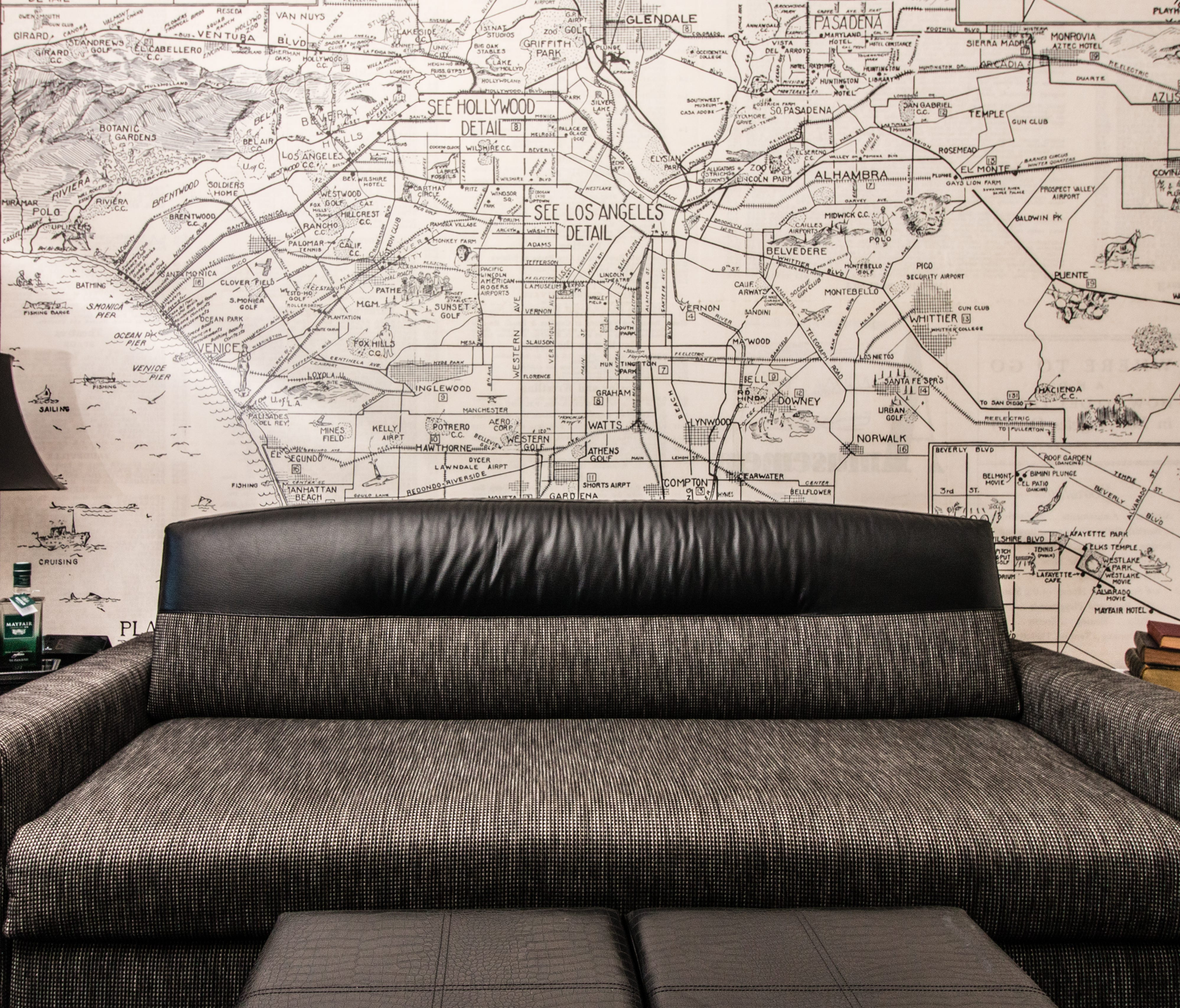 This is a map in a guestroom at the newly renovated Mayfair Hotel in Los Angeles.