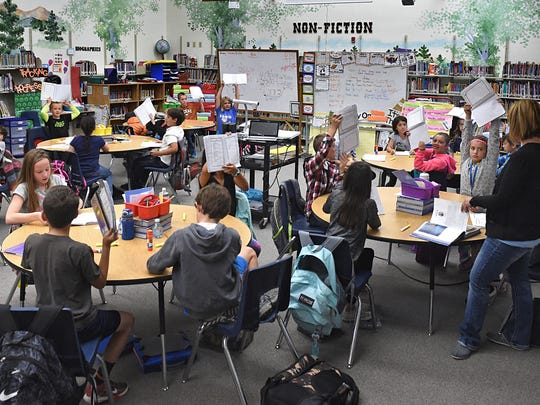 The library at Double Diamond Elementary School has been turned into a classroom to provide space.