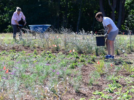 Volunteers help plant the new gardens at the Delaware