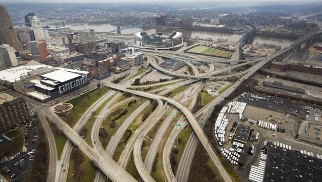 An overhead look at Interstate 75 in Downtown, leading to and from the Brent Spence Bridge, located on the far right.