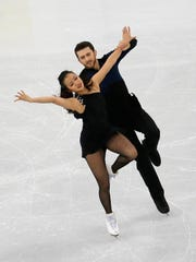 Yura Min and Alexander Gamelin perform in the Ice Dance Short Dance program Feb. 16, 2017.