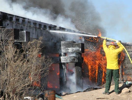Train bridge fire