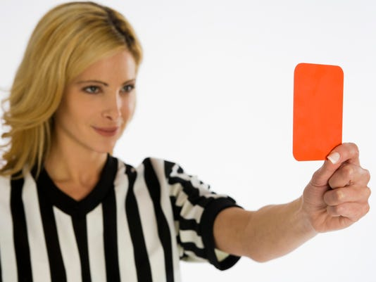 Umpire with penalty card