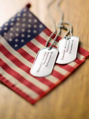 Dog tags with american flag