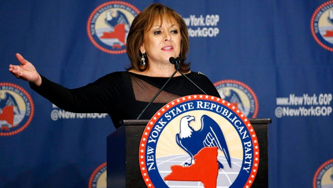In this April 14, 2016, photo, New Mexico Gov. Susana Martinez speaks during the New York Republican State Committee Annual Gala in New York. Martinez, the nation's only Latina governor, said Saturday, Oct. 8, she will not support Donald Trump for president, adding to a growing list of Republicans who are denouncing or distancing themselves for the GOP presidential nominee after an unearthed 2005 video had him making lewd comments about women.