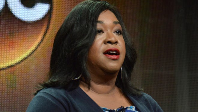 """Shonda Rhimes speaks during the """"How to Get Away with Murder"""" panel at the Disney/ABC Television Group 2014 Summer TCA ."""
