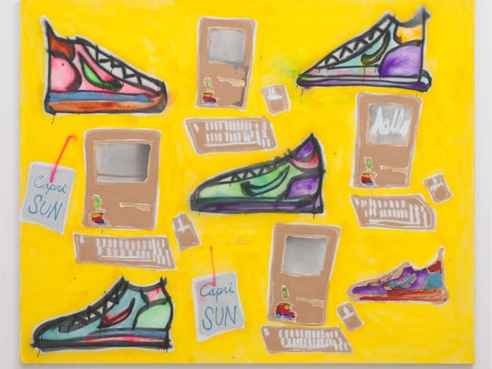 """Sneakers, Computers, Capri Sun."" by Katherine Bernhardt,"