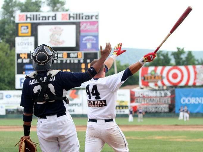 Elmira Pioneers Zac Bellingerreacts to a ball hit during the Home Run Derby competition Tuesday during the Perfect Game Collegiate Baseball League All-Star game at Dunn  Field.