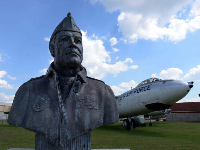 A bust of General Joseph J. Nazzaro on display next to a B-47 at the Barksdale Global Power Museum.