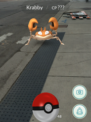 A screenshot of Pokemon Go. The game uses augmented reality on a smartphone to impose a cartoon Pokemon on the screen through the camera tool. I caught this Pokemon on the corner of Washington Square and Washtenaw Street.