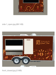 A mock up of the Mayan Cafe Mayan Street Food food truck.