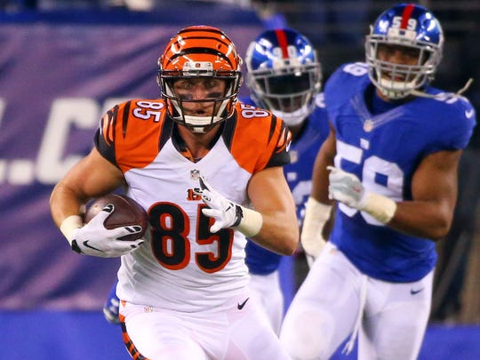 Cincinnati Bengals tight end Tyler Eifert gained 71 yards on this reception against the Giants Monday night.