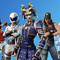Five Fortnite characters dressed in various outfits, including a bunny outfit and a samurai soldier.