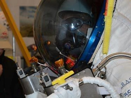 The helmet of Google executive Alan Eustace's one-of-a-kind space suit was designed, tested and created in Kent County at ILC Dover's main site in the Frederica area.