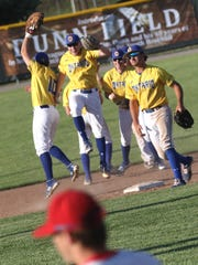 Ontario baseball player celebrate their win over Lakewood
