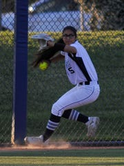 Emily Ibarra throws the ball back after catching for