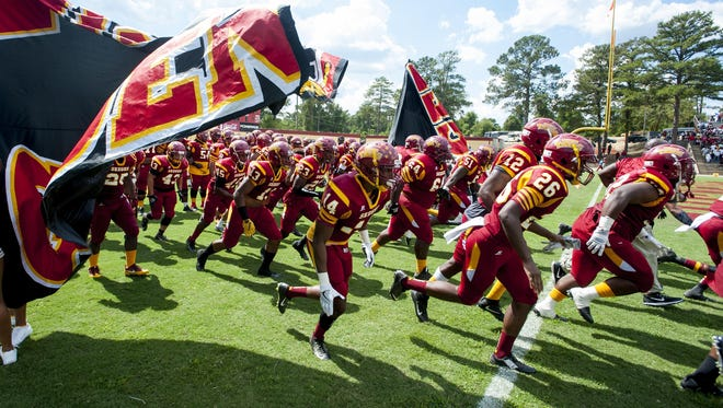 Tuskegee players take the field before the Lane College game in Tuskegee, Ala., on Saturday September 24, 2016.