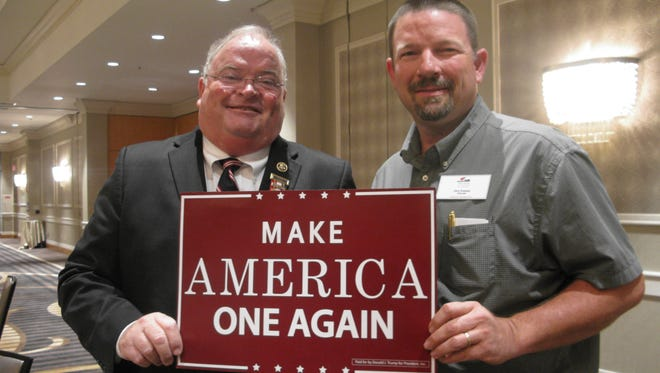 Rep. Billy Long, R-Springfield, poses for photo with Dane Roasseau, a convention delegate from Mount Vernon.