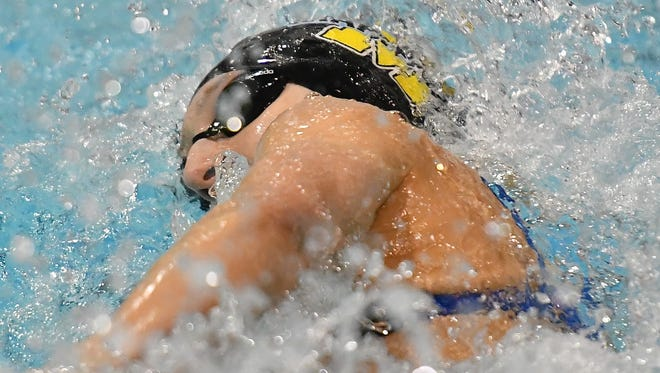 Cora Dupre, from Mariemont wins the girl's 100 yard freestyle.