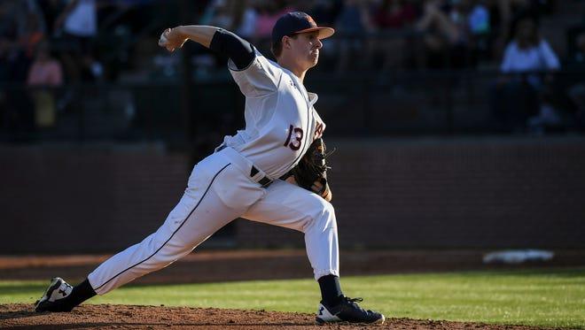 Auburn pitcher Davis Daniel took his first career loss vs South Carolina on Saturday, April 1, 2017 in Auburn, Ala.