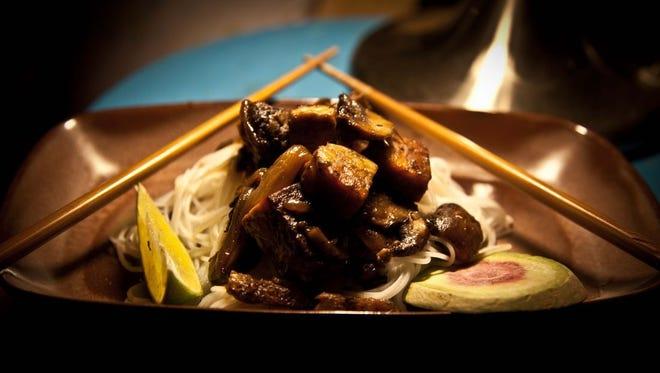 Locally made Smiling Hara tempeh in a vegan Asian dish.