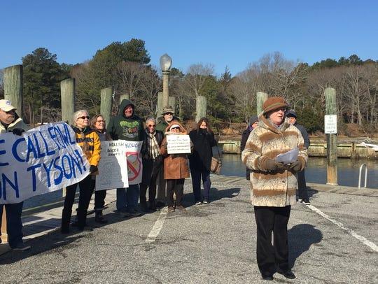 Sue Mastyl of Virginia Eastern Shorekeeper speaks during