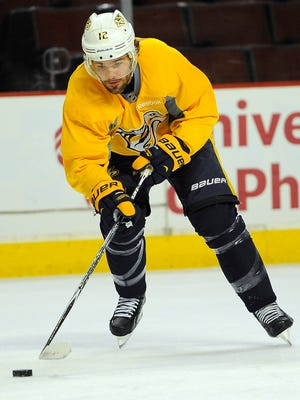 Predators forward Mike Fisher skated Tuesday, but likely won't play in Game 4.