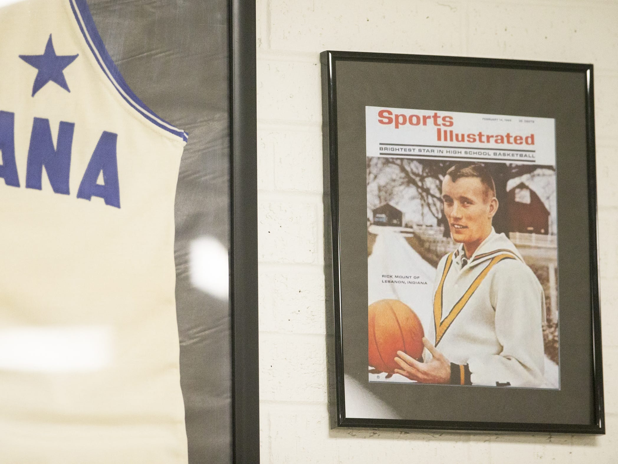 Rick Mount's cover of Sports Illustrated, on the wall outside the gym at Lebanon High School.