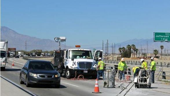 Maintenance work on the Thousand Palms Canyon Wash delayed traffic Tuesday.