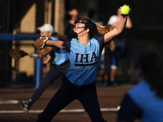 High school softball state Tournament of Champions final between Immaculate Heart Academy and Immaculate Conception at  Seton Hall University in South Orange on Friday, June 9 2017. IHA pitcher #10 Olivia Sprofera.